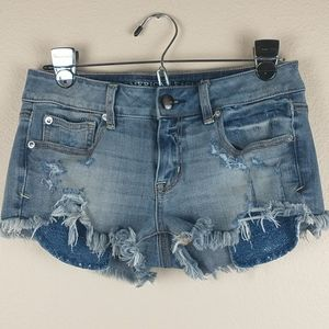 American eagle distressed jean shorts shortie 4